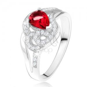 Prsten ze stříbra 925, rubínový slzičkovitý kámen, zvlněné zirkonové linie