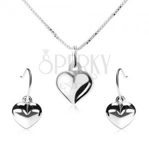Stříbrná 925 sada - náhrdelník a visací náušnice, vypouklé srdce