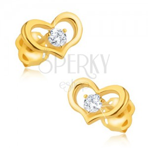 Zlaté náušnice 375 - lesklý obrys symetrického srdíčka, kulatý zirkon