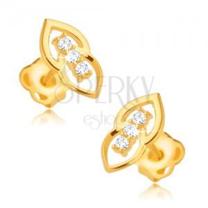 Náušnice ze žlutého 9K zlata - překrývající se elipsy, tři zirkony