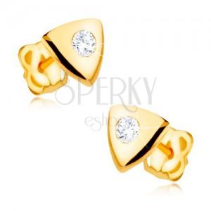 Náušnice ve žlutém 9K zlatě - lesklý rovnostranný trojúhelník, čirý zirkon