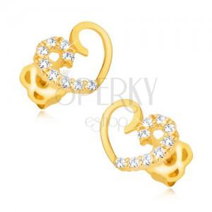 Náušnice ze žlutého 9K zlata - kontura symetrického srdce, zirkonová linie