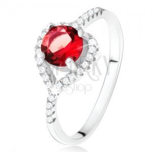 Prsten s asymetrickým zirkonovým srdcem, červený kámen, stříbro 925