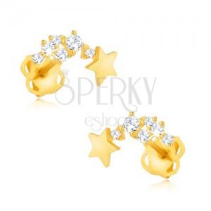 Blyštivé náušnice ze žlutého 9K zlata - padající hvězda, kamínky