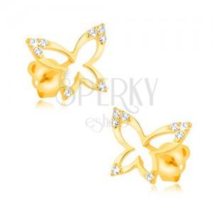 Zlaté náušnice 375 - lesklá kontura motýla, zirkonové cípy křídel