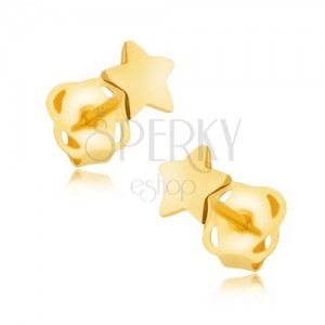 Náušnice ve žlutém 9K zlatě - zrcadlově lesklá pěticípá hvězdička