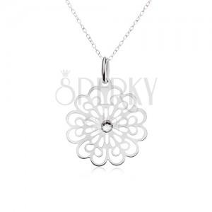 Náhrdelník stříbro 925 - řetízek, čirý zirkon, plochý vyřezávaný květ