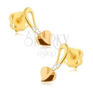 Lesklé zlaté náušnice 375 - zlatorůžové srdíčko na stopce, kamínky