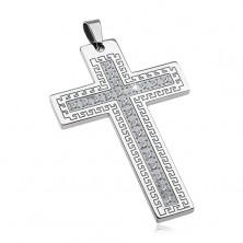 Přívěsek z chirurgické oceli - velký kříž se zirkony a řeckým klíčem