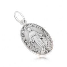Oválný medailon s Pannou Marií, matný, ze stříbra 925 SP02.16