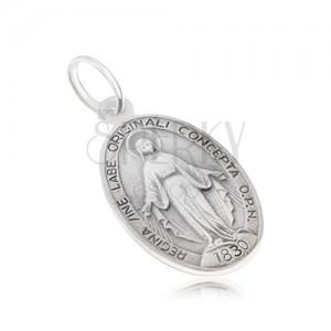 Oválný medailon s Pannou Marií, matný, ze stříbra 925