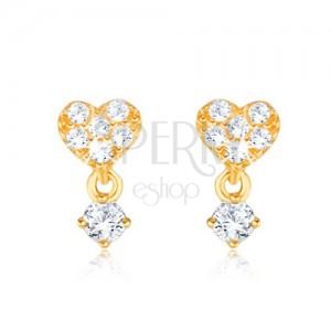 Zlaté náušnice 375 - drobné zirkonové srdce, kamínek v kotlíku