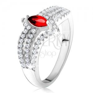 Prsten ze stříbra 925, červený zrníčkovitý kámen, tři zirkonové linie