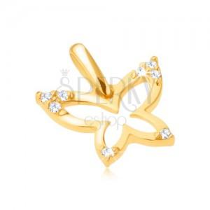 Zlatý přívěsek 375 - blyštivý obrys motýla, zirkonové cípy křídel
