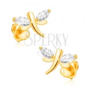 Náušnice ve žlutém 9K zlatě - blyštivé vážky, zrníčkovité zirkony v křídlech