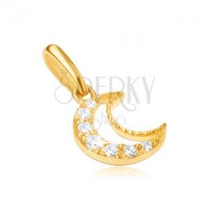 Přívěsek ze žlutého 9K zlata - obrys srpku měsíce, čiré kamínky