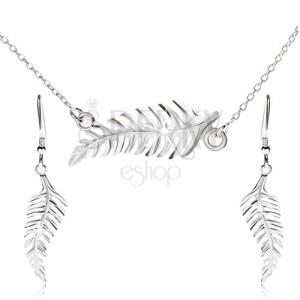 Souprava náhrdelníku a visacích náušnic, kapradí, ze stříbra 925