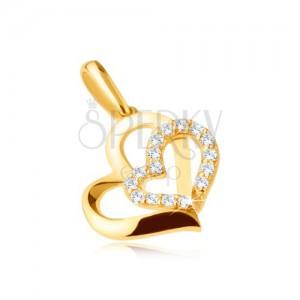 Zlatý přívěsek 375 - dvě asymetrické kontury srdíček, kamínky