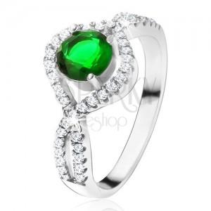 Stříbrný 925 prsten, kulatý zelený kámen, zatočená zirkonová ramena