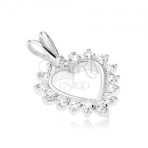 Stříbrný 925 přívěsek - kontura srdce s čirým zirkonovým lemem