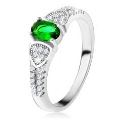 Prsten s oválným zeleným zirkonem, trojúhelníky, čiré kamínky, stříbro 925 U19.13