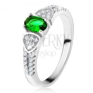 Prsten s oválným zeleným zirkonem, trojúhelníky, čiré kamínky, stříbro 925