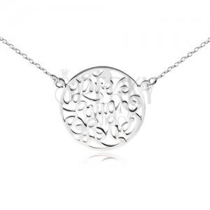 """Náhrdelník ze stříbra 925 - řetízek a kruh s výřezy, """"Live Laugh Love"""""""