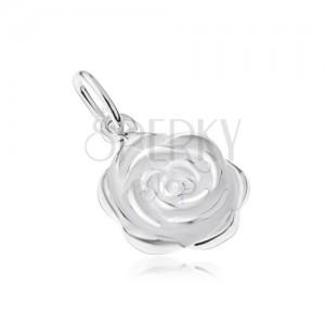 Stříbrný 925 přívěsek, rozkvetlý květ růže