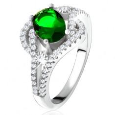 Prsten - stříbro 925, zaoblené linie, čiré kamínky, oválný zelený zirkon SP22.27