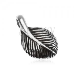 Stříbrný přívěsek 925, malé patinované pírko, hladký povrch