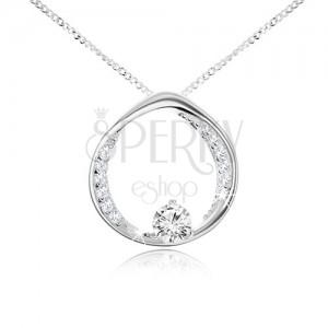 Náhrdelník - řetízek a kruh s kulatým čirým zirkonem, stříbro 925