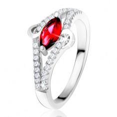 """Prsten ze stříbra 925, zrníčkovitý zirkon rubínové barvy, linie """"S"""", čiré kamínky T20.9"""