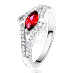 """Prsten ze stříbra 925, zrníčkovitý zirkon rubínové barvy, linie """"S"""", čiré kamínky"""
