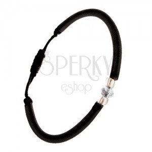 Černý nylonový náramek s čirým broušeným kamínkem, korálky