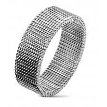 Ocelový prsten stříbrné barvy s vyplétaným síťovaným vzorem, 8 mm