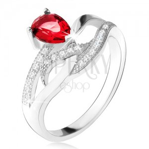 Lesklý prsten ze stříbra 925, červený kámen ve tvaru slzy, zvlněné zirkonové linie