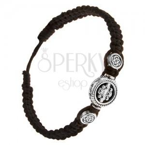 Černý zaplétaný náramek ze šňůrek, tři kruhové známky, keltský uzel