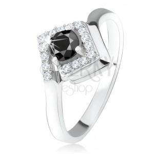 Stříbrný 925 prsten, kulatý černý kamínek v zirkonovém kosočtverci