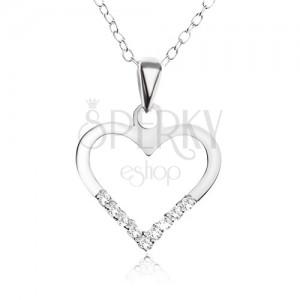 Nastavitelný náhrdelník - řetízek, obrys ve tvaru srdce, čiré zirkonky, stříbro 925