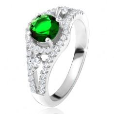 Prsten - stříbro 925, kulatý zelený zirkon, zaoblené linie, čiré kamínky SP28.09