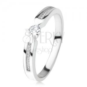 Lesklý prsten ze stříbra 925, čirý zirkon, dva pásy, spirála