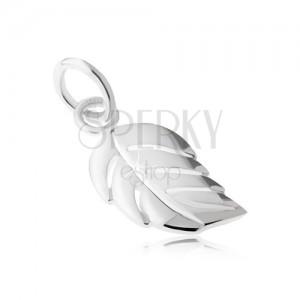 Přívěsek - stříbro 925, lesklý, hladký, zaoblený list s výřezy