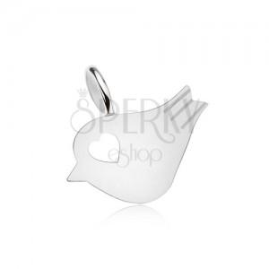 Přívěsek ze stříbra 925, lesklý, plochý ptáček, srdíčkovitý výřez
