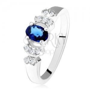 Lesklý prsten - stříbro 925, tmavě modrý oválný zirkon, čiré kamínky