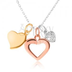 Stříbrný 925 náhrdelník - řetízek, tři srdíčka, zlatá, stříbrná a měděná barva