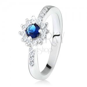 Prsten ze stříbra 925, kulatý tmavě modrý kamínek a čiré zirkony