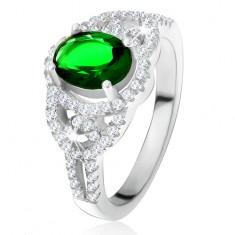 Prsten - oválný zelený zirkon, lem, zaoblené linie, čiré kamínky, stříbro 925 SP28.26