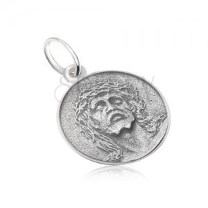 Kruhový medailon s tváří Ježíše, matný, patinovaný, ze stříbra 925