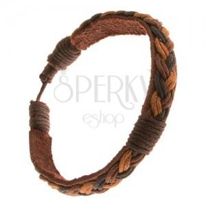 Kožený náramek, copánkový pás světle hnědé, nugátové a tmavě hnědé barvy