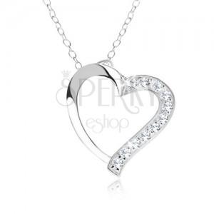 Nastavitelný náhrdelník - stříbro 925, řetízek, obrys srdce, čiré zirkony